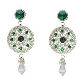 Sia (SL-818 Green/Silver) Earrings