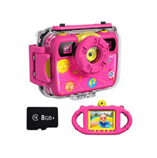 OurLife Waterproof Camera 1080P 8MP 2.4 Inch Screen with 8GB Micro SD Card for Kids