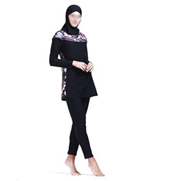 Muslim Women Swimsuit Full Cover Islamic Burkini Full Body covering with Hijab - (Face not covered)