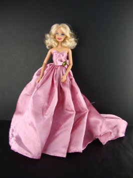 A Long Flowing Gown in Pink with a Large Train Made to Fit the Barbie  Girls Doll
