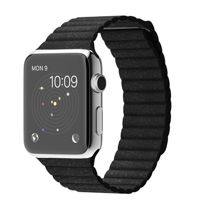 Apple watch 42mm Stainless Steel Case with Black Leather Loop Smart  watch