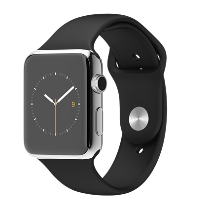 Apple watch 42mm Stainless Steel Case with Black Sport Band Smart watch