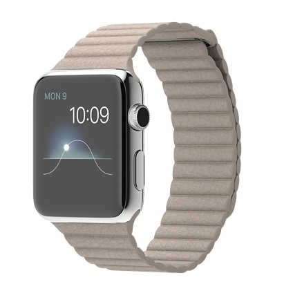 Apple watch 42mm Stainless Steel Case with Stone Leather Loop Smart  watch