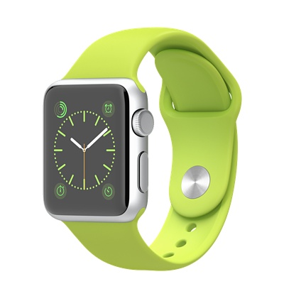 Apple watch Sport 38mm Silver Aluminium Case with Green Sport Band Smart watch