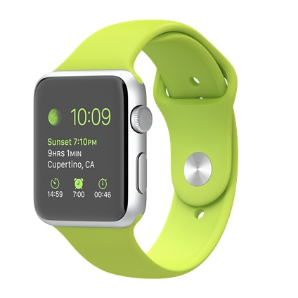 Apple watch Sport 42mm Silver Aluminium Case with Green Sport Band Smart watch
