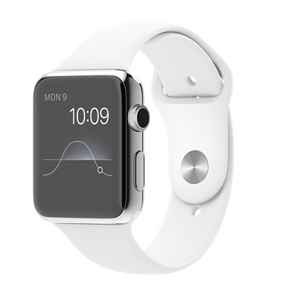 Apple watch 42mm Stainless Steel Case with White  Sport Band Smart watch