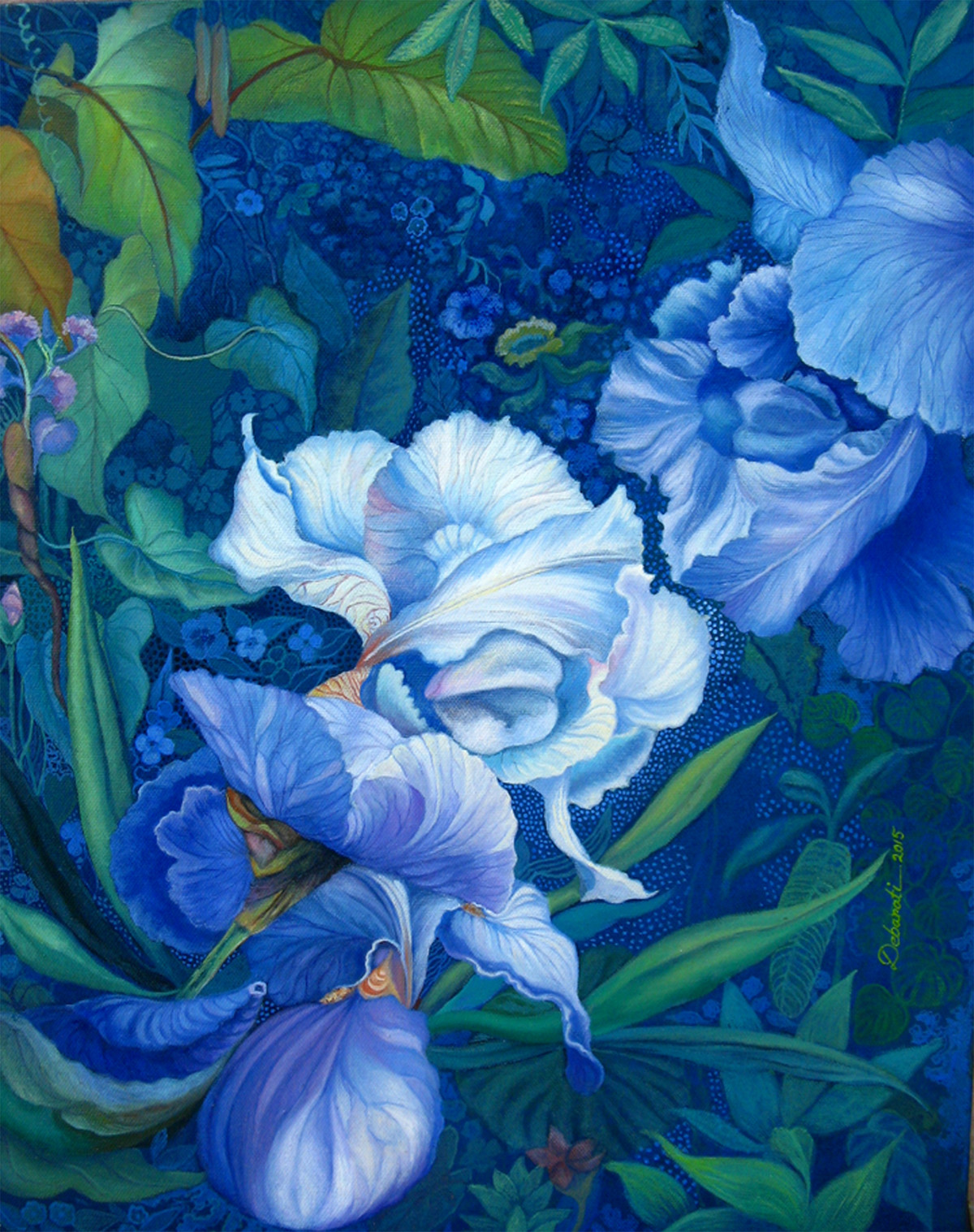 Flower in Blue - Oil paining by Debarati RoySaha