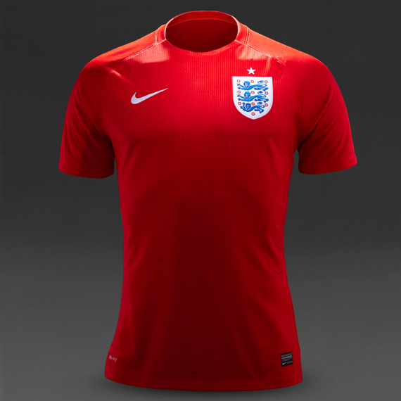 Nike England Away Match Jersey Red & White