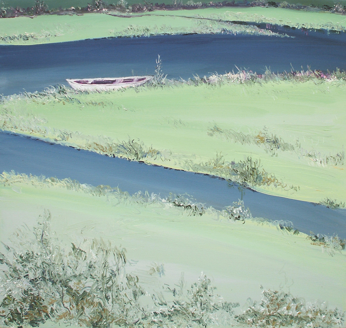 River Banks and A Boat - Oil paining by Animesh Roy
