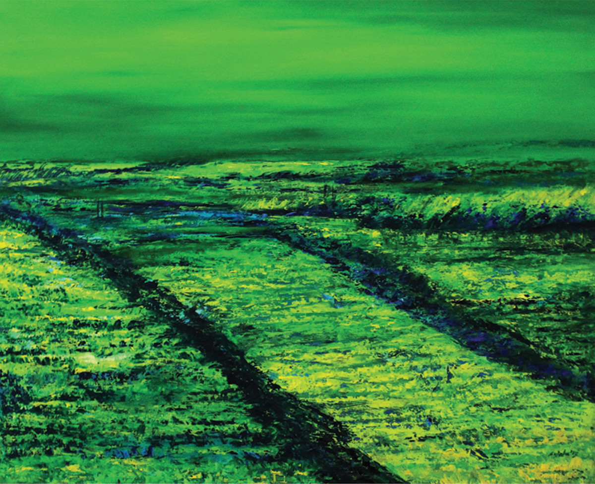 Roaring Green in a Lonely Field - Oil paining by Sujata Kar Saha