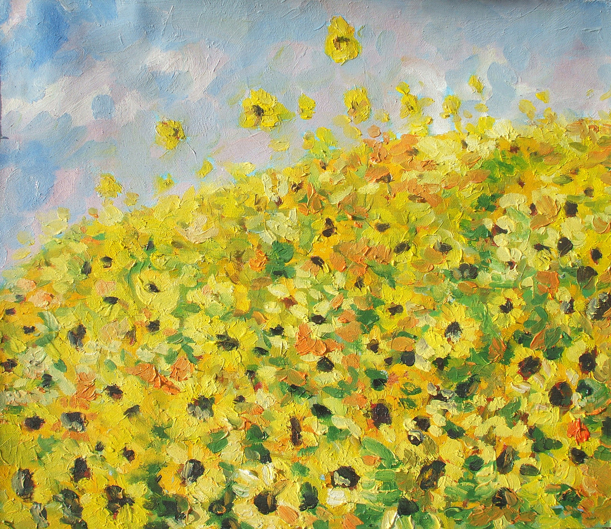 Sun Flowers In Summer - Oil paining by Animesh Roy