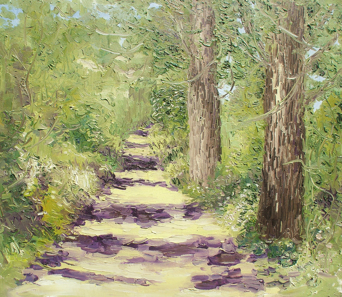 Sunlit Path with Two Populars-V - Oil paining by Animesh Roy