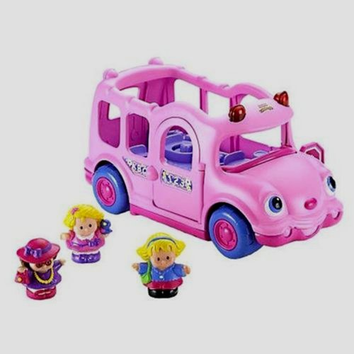 Fisher-Price  Pink Lil' Movers School Bus Little People RC Toys
