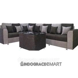 Indograce Corner Sofa Set (Grey / Black)