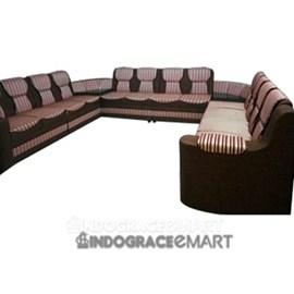 Indograce Corner Sofa Set (Red/ Silver/ Brown)