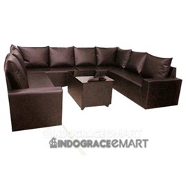 Indograce Corner Sofa Set (Black)