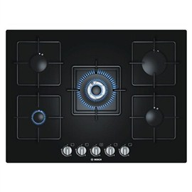 Bosch Black Hard Glass Gas Hob With Integrated Controls (PPQ716B1TI)