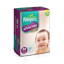 Pampers Active Baby Medium Size Diapers(20 Count)