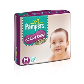 Pampers Active Baby Medium Size Diapers (90 Count)