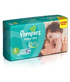 Pampers Baby Dry Large Size Diapers - Jumbo Pack